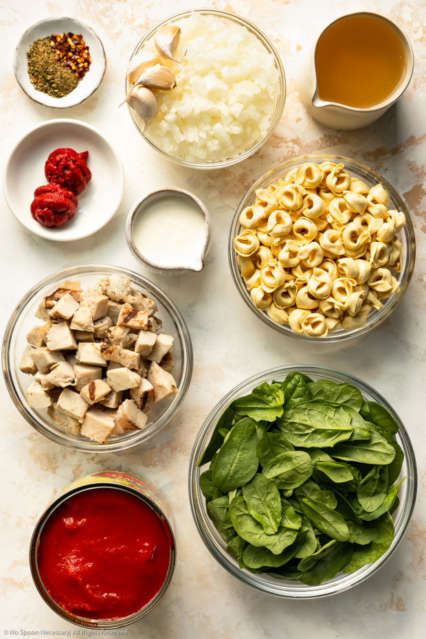 Overhead photo of all the ingredients needed to make Tortellini Soup neatly organized in individual bowls on a white and pale tan wood surface.