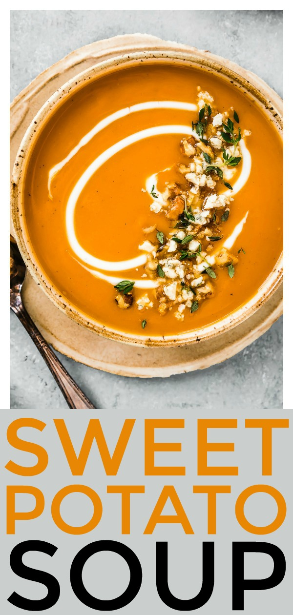 Honey Roasted Sweet Potato Soup | Velvety smooth and hearty, yet healthy, light and vegetarian.Garnished with funky gorgonzola, fresh thyme and crunchy walnuts, this warming soup packs tons of flavor!  #sweet #potato #honey #roasted #soup #vegetarian #healthy #recipe