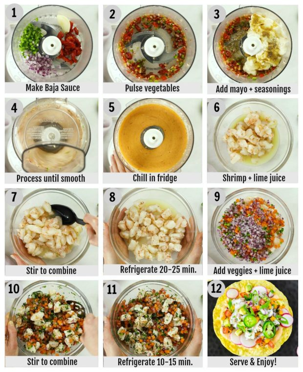 Overhead photo collage of how to make shrimp ceviche step by step with written instructions on each step.