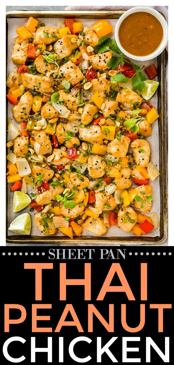 Sheet Pan Thai Peanut Chicken with Onions & Peppers | Quick, easy and delicious! With an Asian peanut sauce that doubles as a marinade and a dipping sauce for serving, this flavorful tray bake dinner is guaranteed to be a weeknight dinner winner!  #sheetpan #onepan #traybake #Thai #peanut #chicken #easy #dinner #recipe