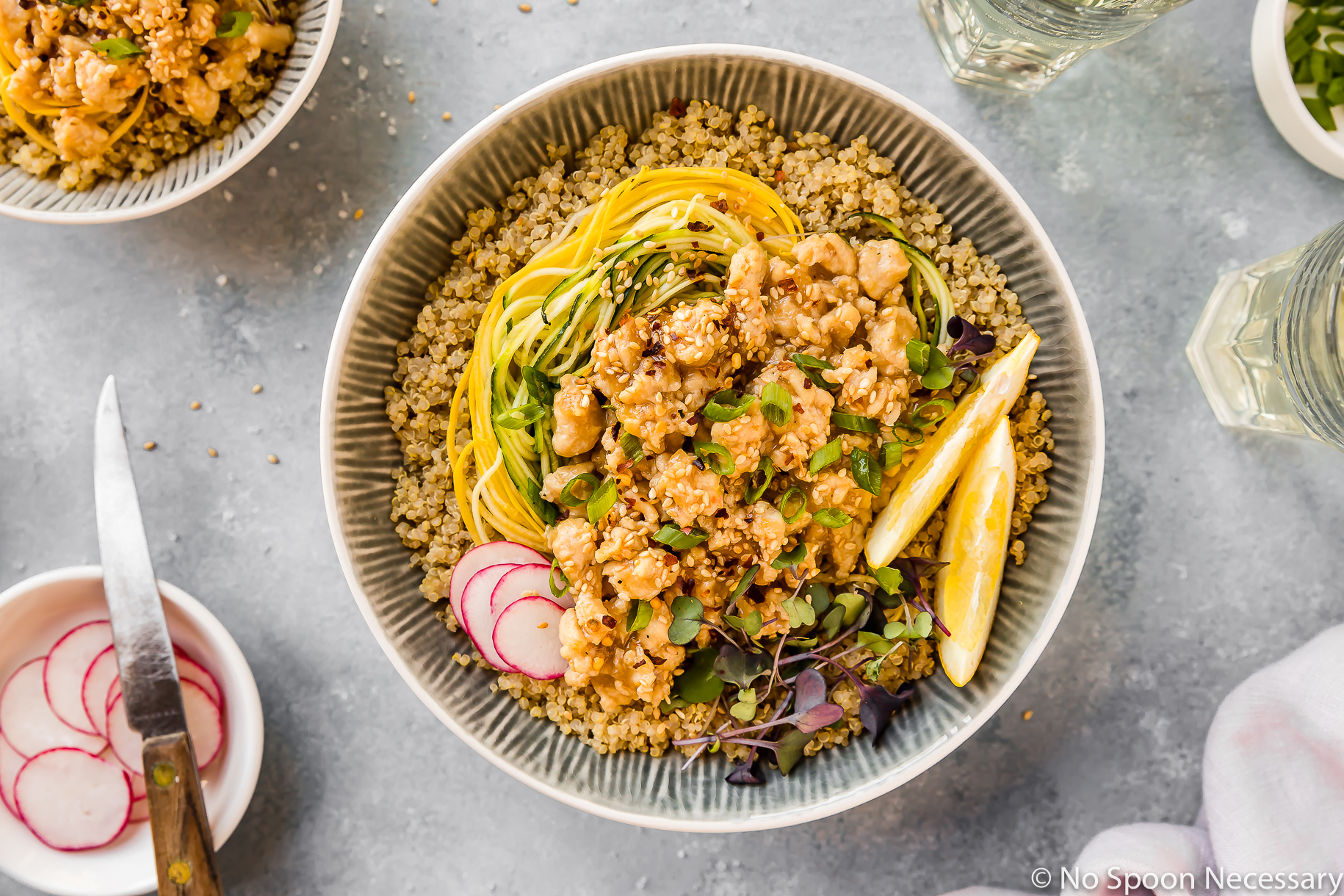 Healthy Honey Lemon Chicken Quinoa Bowl