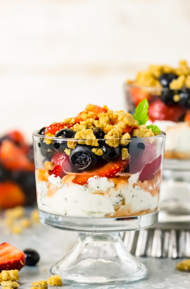 Straight on shot of a Fruit Yogurt Parfait in a small parfait glass with an additional parfait and fresh fruit strewn around the parfait.