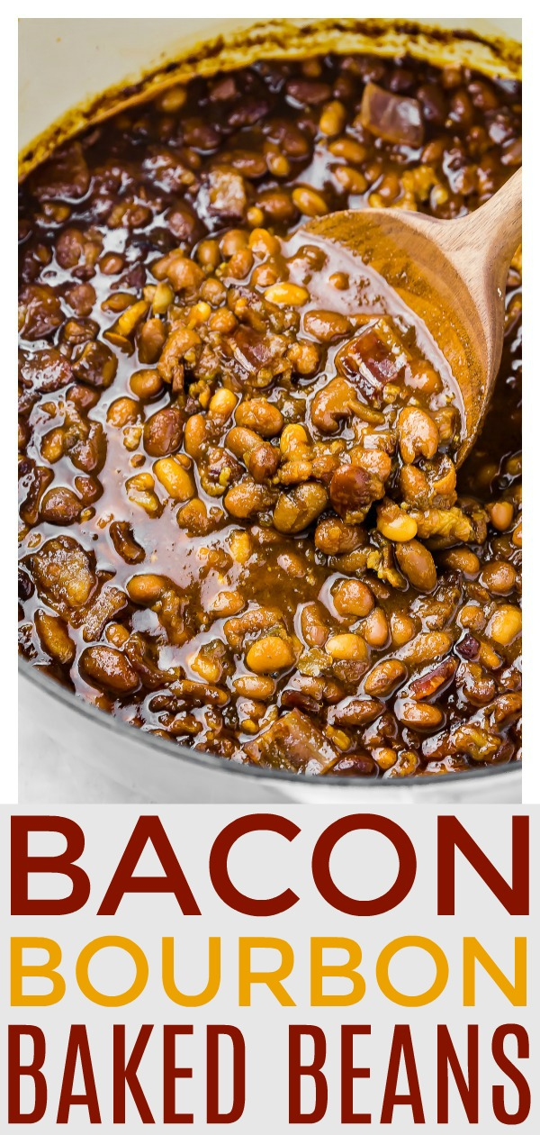 Homemade Bacon, Bourbon & Brown Sugar Baked Beans.  Includes instructions for canned or dried beans, plus directions for the oven, stove top & slow cooker! #easy #bacon #bourbon #baked #beans #recipe #crockpot
