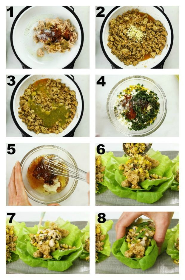 Overhead collage step-by-step photos how to make Mexican lettuce wraps.