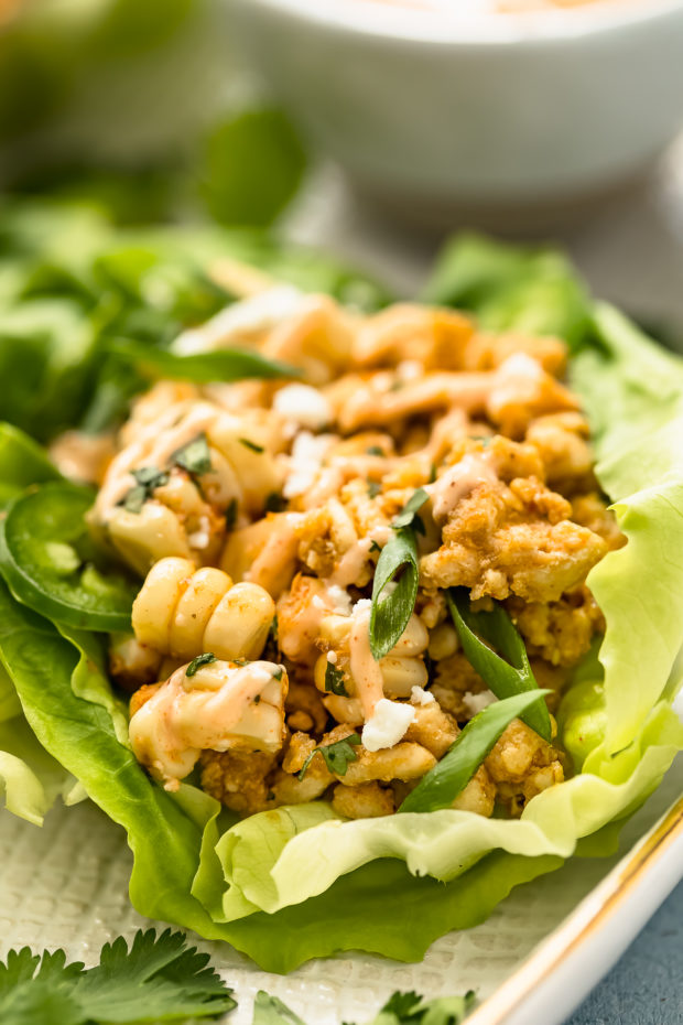 Up close, angled shot of a Mexican Lettuce Wrap garnished with creamy sauce and sliced scallions on a white platter.