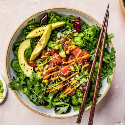 Avocado Mango Tuna Poke Salad Bowl No Spoon Necessary
