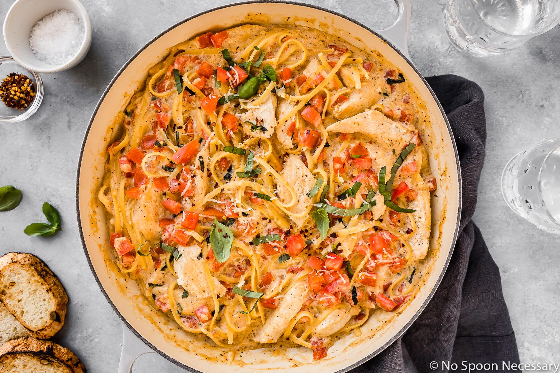 One Pot Chicken Margherita Pasta with Ricotta