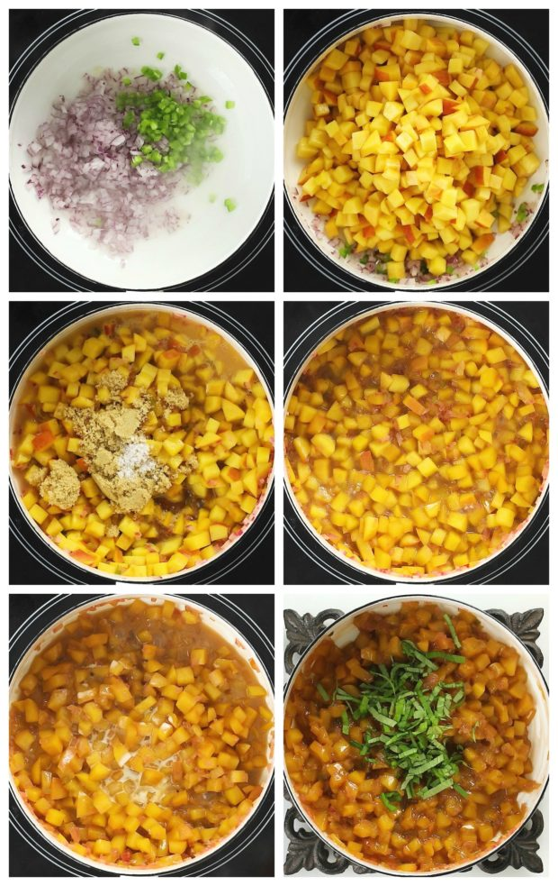 Overhead photo collage of how to make fruit chutney step by step.