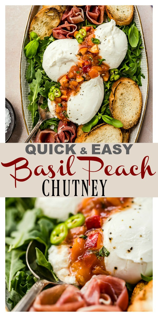 Ready in 30 minutes or less, this Quick Basil Peach Chutney recipe is perfect paired with cheese and crusty bread, or it's delicious as a topping for chicken, pork and fish, served as a spread for sandwiches, pureed into a glaze or dressing, or just eaten plain with a spoon! #quick #easy #basil #peach #chutney #spread #relish #condiment #vegetarian #vegan #recipe