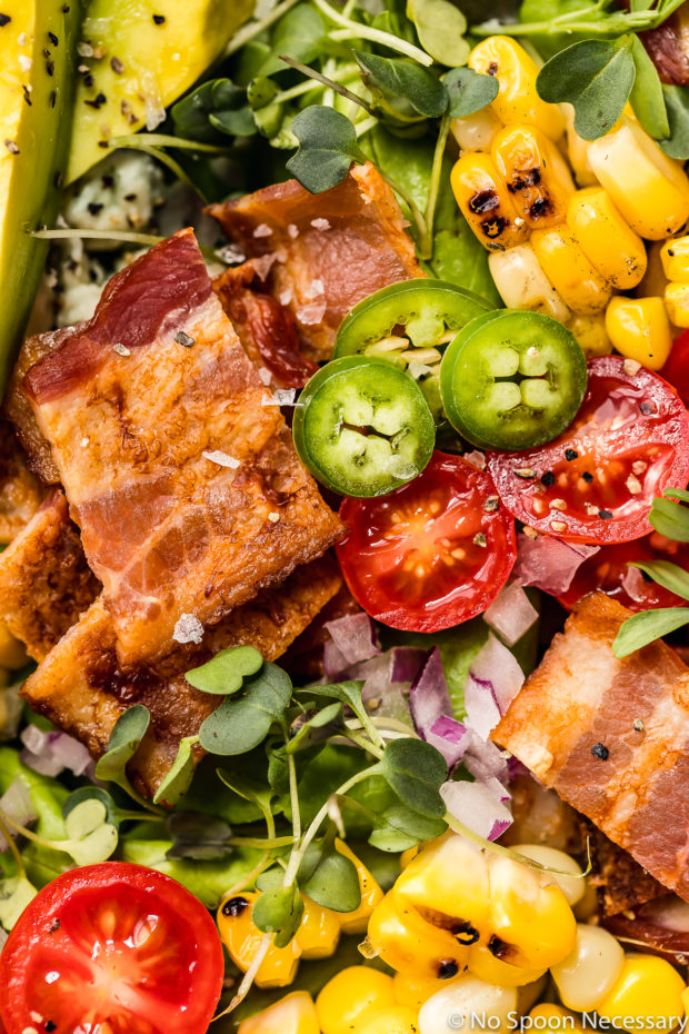 Overhead, up-close shot of a Summer Corn BLAT Salad.