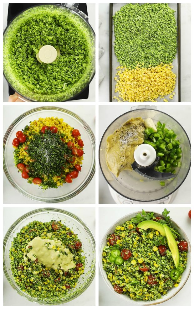 Overhead photo collage of step by step how to make broccoli tabbouleh.
