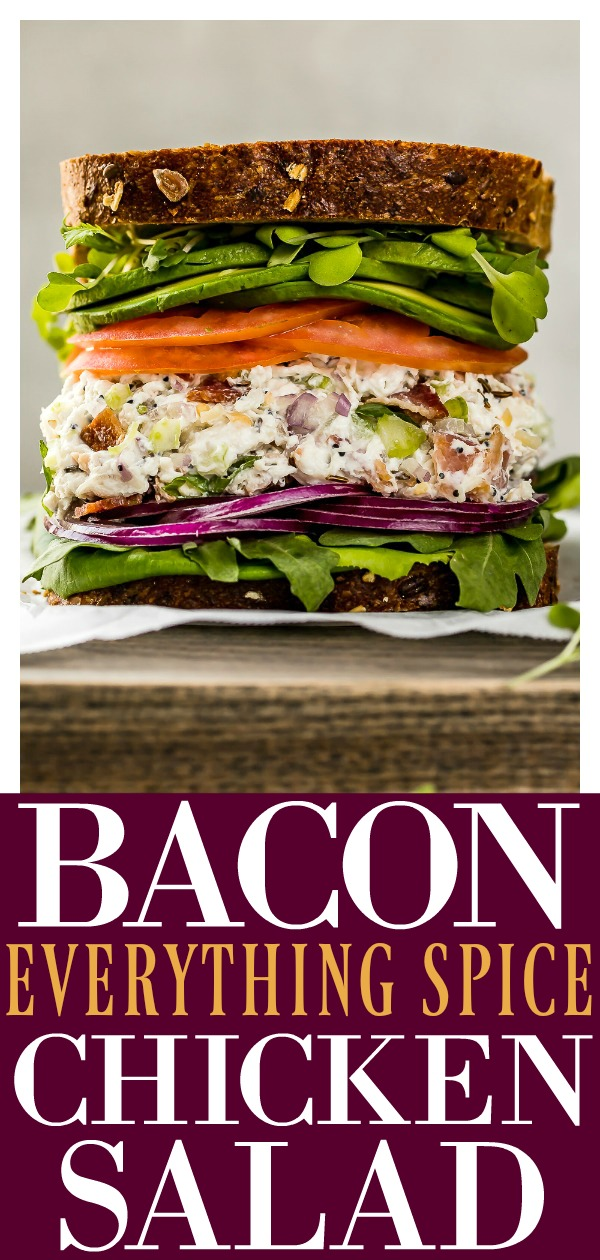 This Creamy Bacon Everything Spice Chicken Salad is loaded with flavor and only takes 10 minutes to make!  Instructions on how to easily poach and shred chicken included! #bacon #everything #chicken #salad #quick #easy #recipe