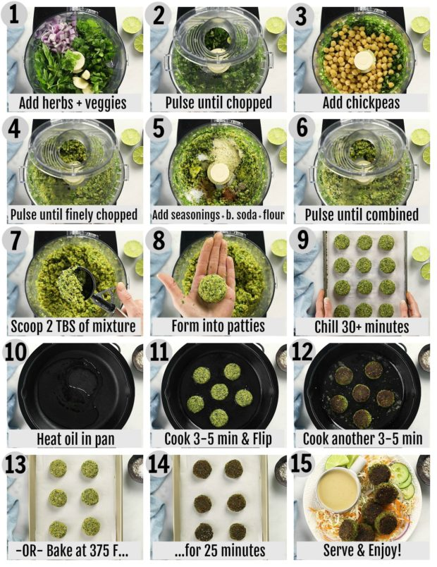 Overhead photo collage of how to make falafels step by step with written instructions on each step.