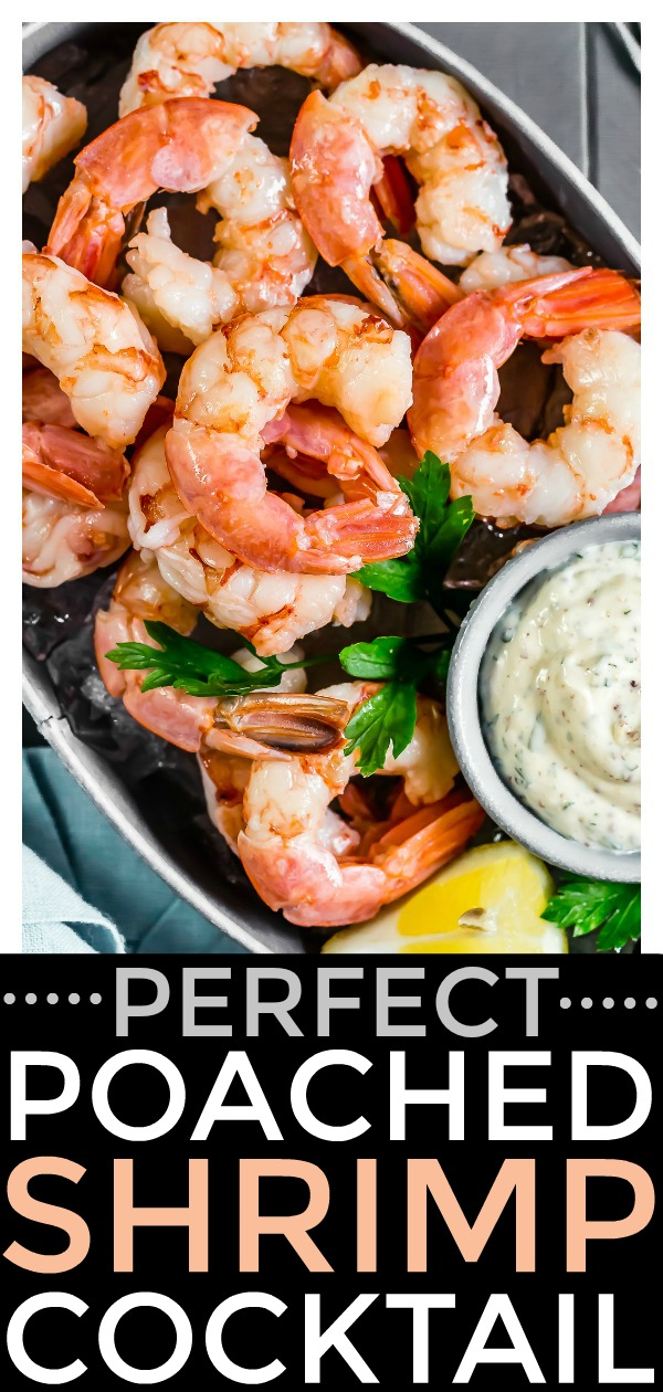 This easy to make, Perfect Beer Poached Shrimp Cocktail is a flawless way to start every party! Served with creamy remoulade sauce and packed with flavor, this delicious duo is guaranteed to be a hit! #best #perfect #beer #poached #shrimp #shellfish #cocktail #appetizer #starter #easy #remoulade #sauce #seafood #recipe