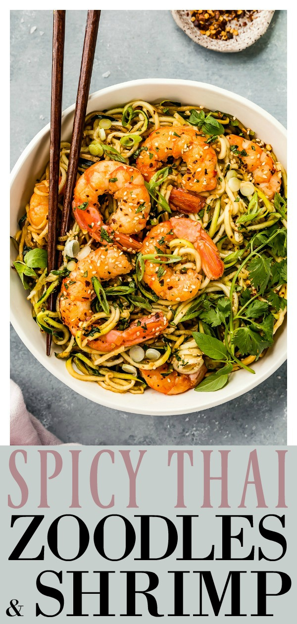 Spicy, sweet and deliciously healthy, these Spicy Thai Zucchini Noodles with Shrimp are an amazing, easy alternative to take out! Substitute chicken or tofu for shrimp optional! #zucchini #noodles #zoodles #shrimp #healthy #quick #easy #recipe