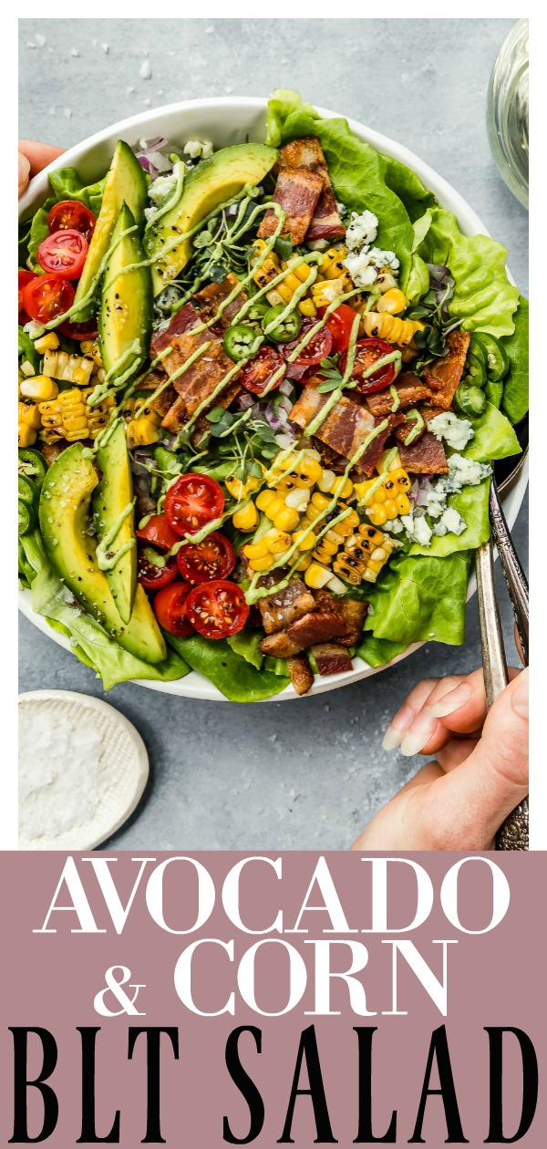 This Summer Corn & Avocado BLT Salad is a deconstructed version of the classic California BLT!  With the addition of fresh grilled corn and an avocado jalapeno ranch dressing, there is nothing boring or bland about this salad! #summer #corn #avocado #BLT #salad #easy #grilled #healthy #jalapeno #ranch #recipe