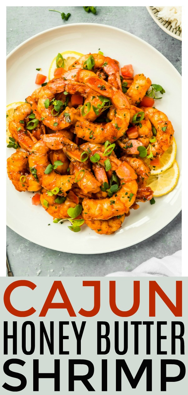 These Easy Cajun Honey Butter Shrimp are made in one skillet and ready in 20 minutes or less!  It's an incredibly easy, yet flavorful meal that the whole family will love!  Plus, the silky honey butter sauce is to die for delicious!! #skillet #cajun #butter #shrimp #easy #recipe