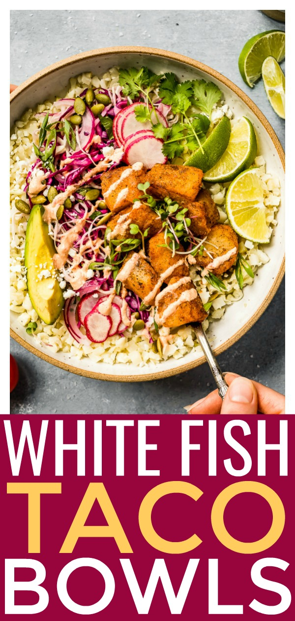 These Spicy Easy White Fish Taco Bowls are loaded with flaky white fish, crisp slaw and a creamy chili sauce! Healthy and ready in 30 minutes or less, these bowls make a quick and delicious dinner!  #easy #spicy #fish #taco #bowls #healthy #recipe