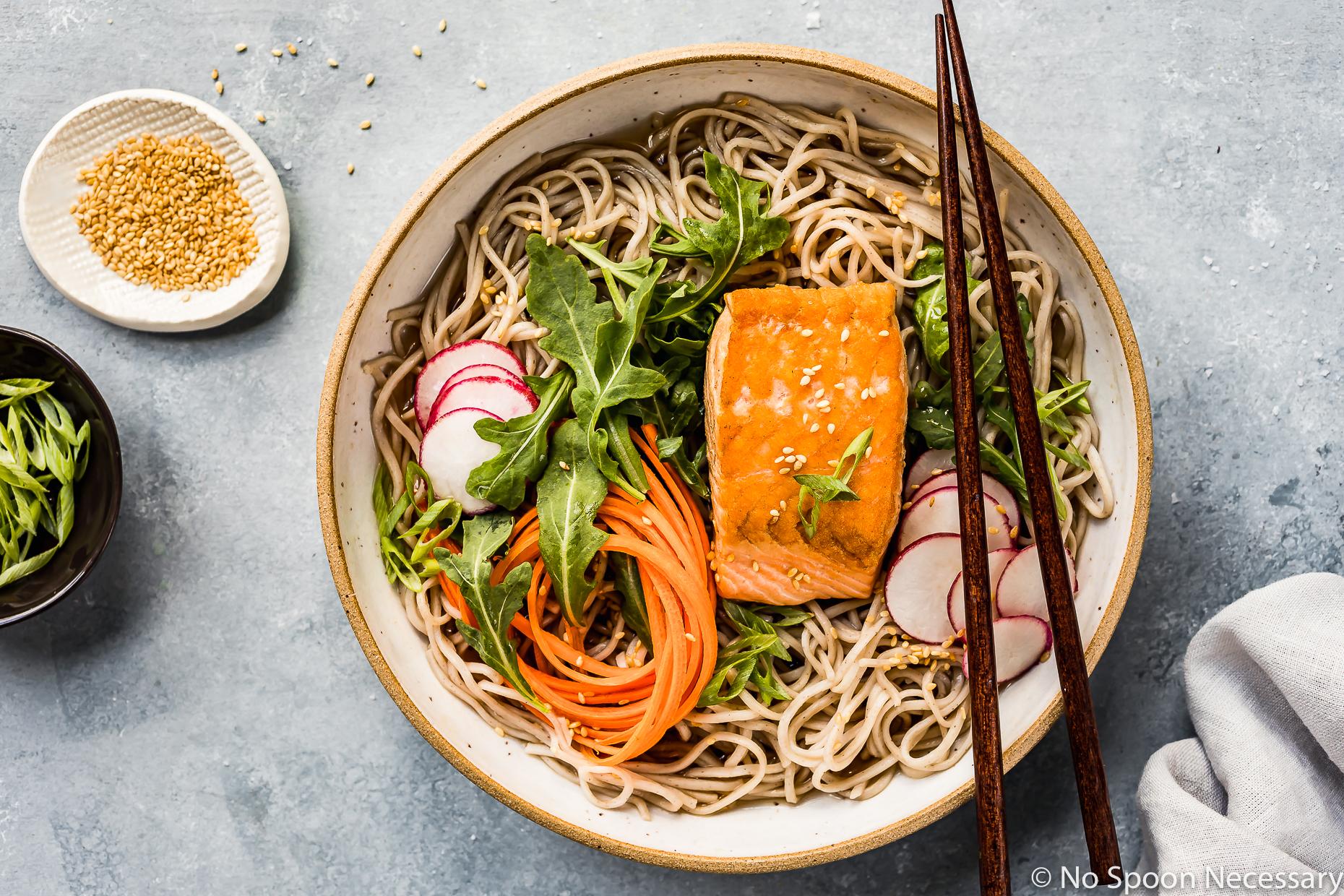 Green Tea Poached Salmon Soba Noodles