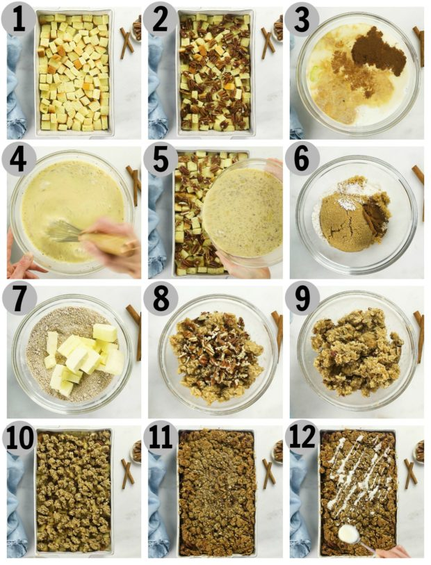 Overhead photo collage of how to make cinnamon french toast casserole step by step.