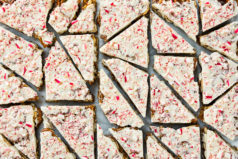 Overhead photo of Peppermint Bark cut into pieces on a piece of parchment paper.