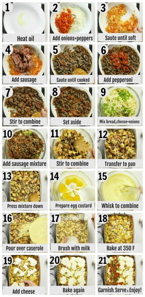 Overhead photo collage of how to make Sausage and Egg Casserole step by step with written instructions on each step.