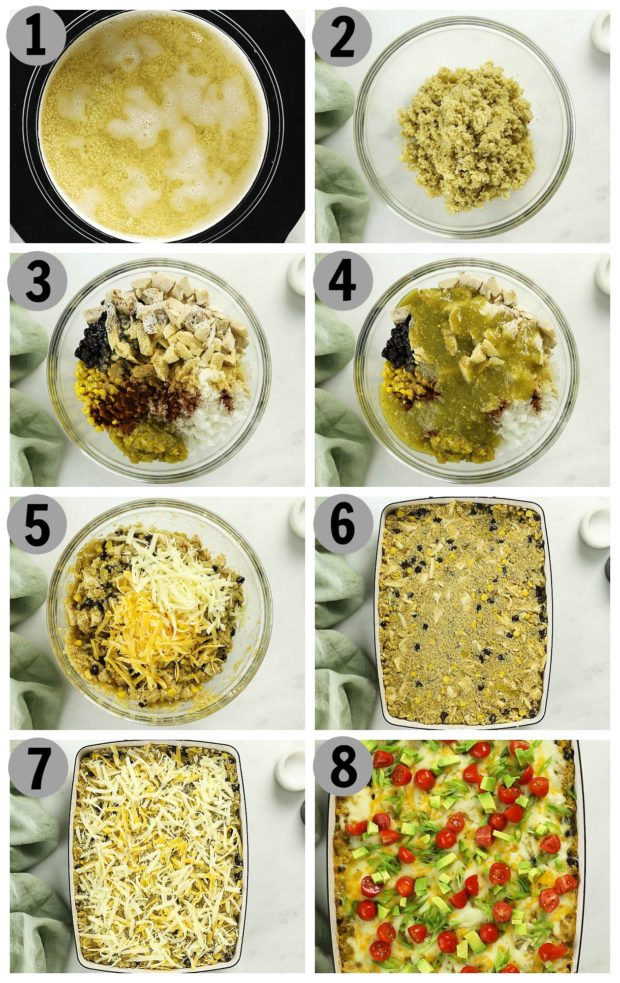 Overhead step by step photo collage showing how to make chicken quinoa casserole