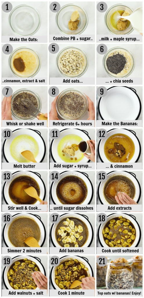 Overhead photo collage of how to make banana overnight oats step by step with written instructions on each step.