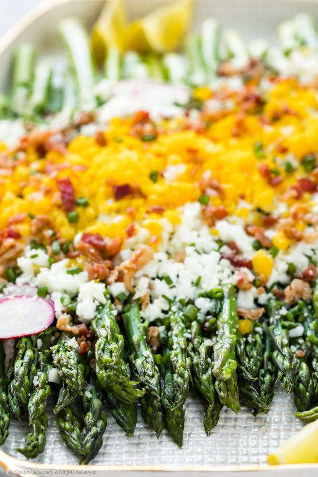 Angled, up-close photo of Asparagus Mimosa garnished with crumbled bacon, grated parmesan and slices of radishes on a large white platter with the focus of the shot on the asparagus spears tips.