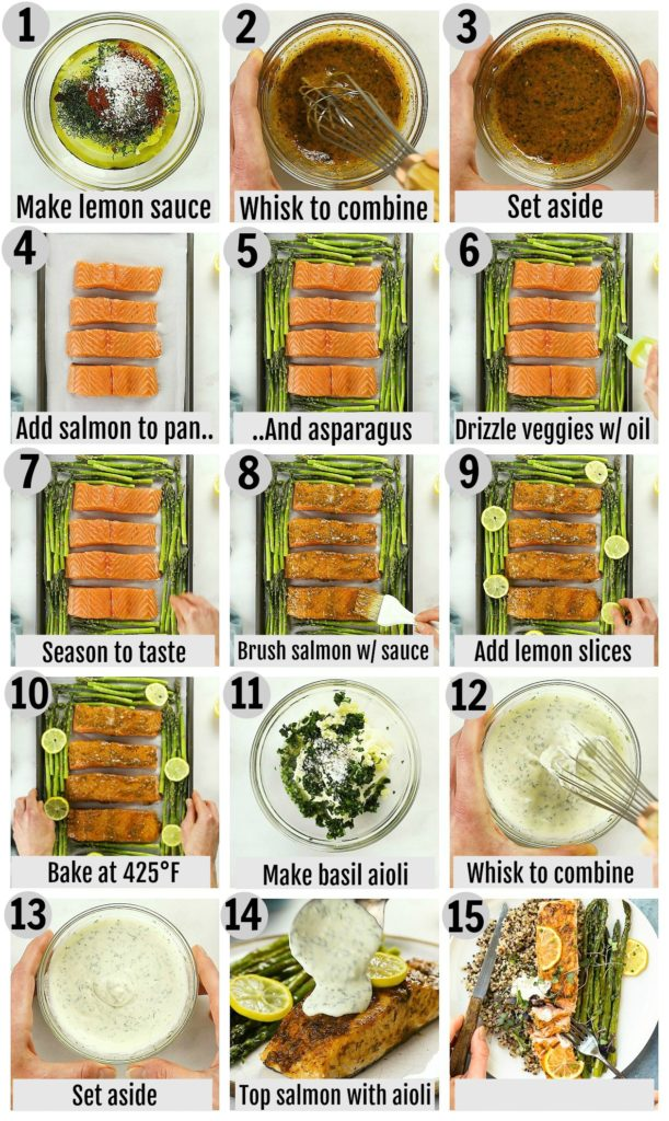 Overhead photo collage of how to make lemon dill salmon step by step with written instructions on each step.