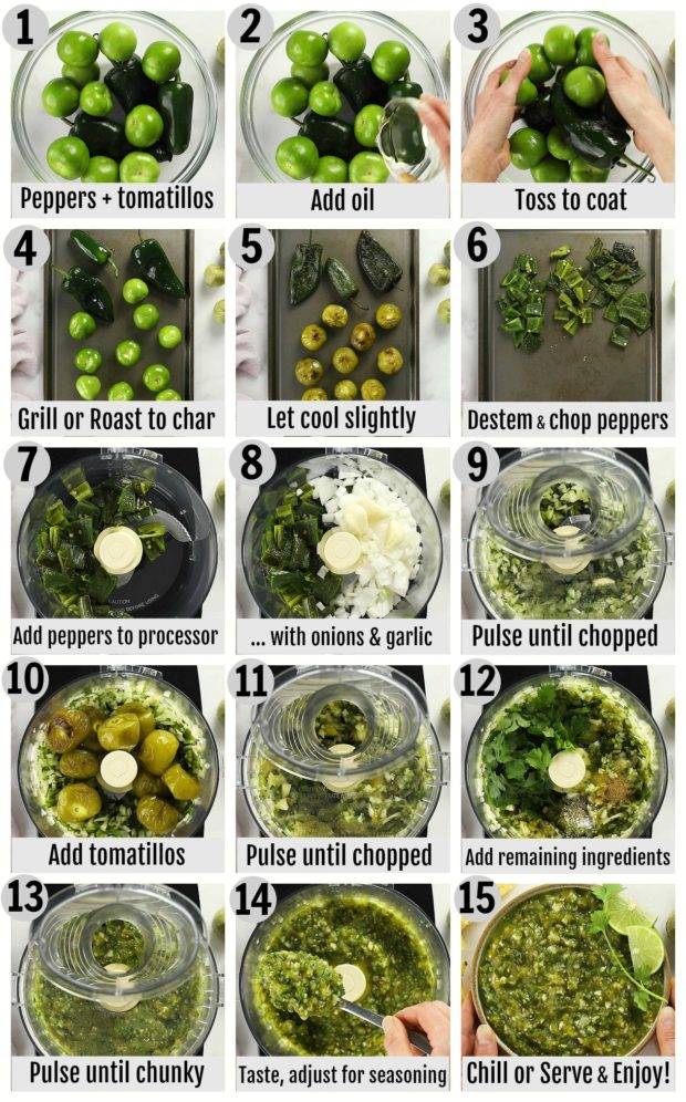 Overhead photo collage of how to make tomatillo salsa step by step with written instructions on each step.
