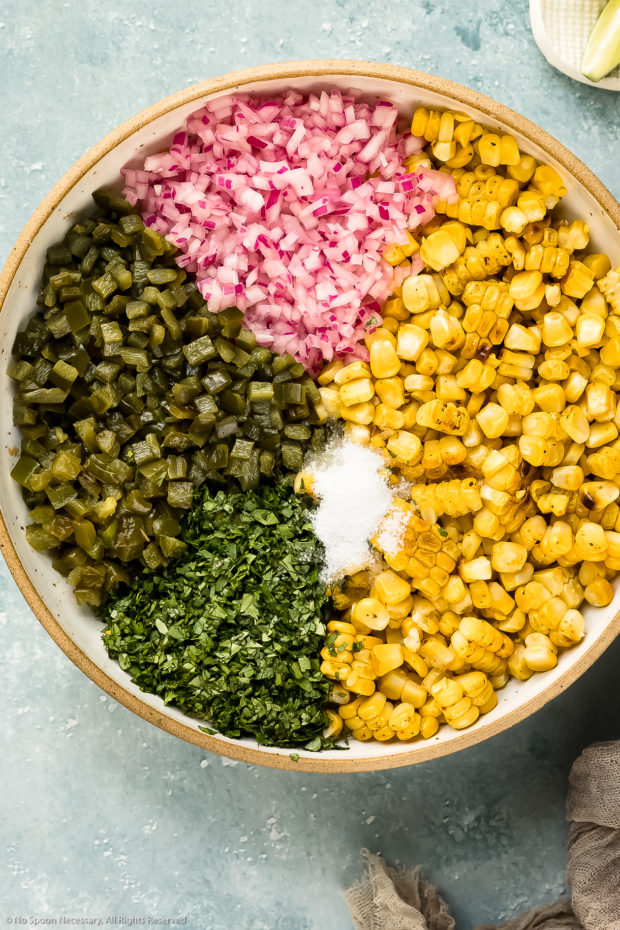 Overhead photo of all the ingredients needed to make fresh corn salsa organized separately in a large bowl.