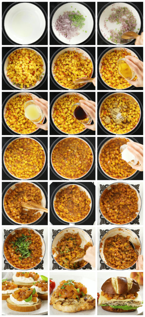 Overhead photo collage of how to make fruit chutney step by step with written instructions on each photo.