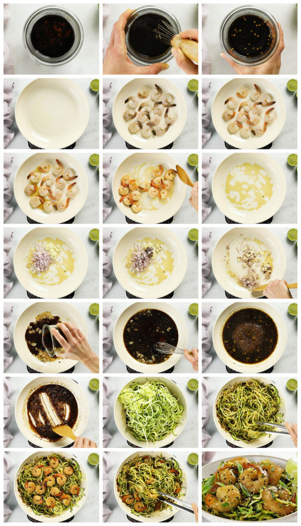 Overhead photo collage of how to make vegetable noodle stir fry with shrimp step by step with written instructions on each step.