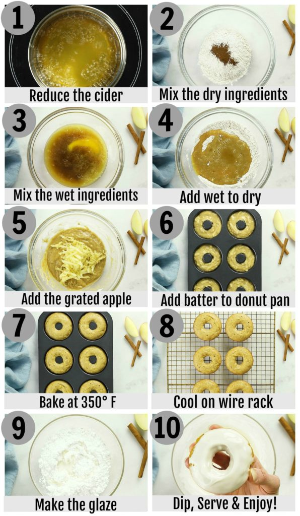 Overhead photo collage of how to make baked apple cider donuts step by step with detailed written instructions on each photo.