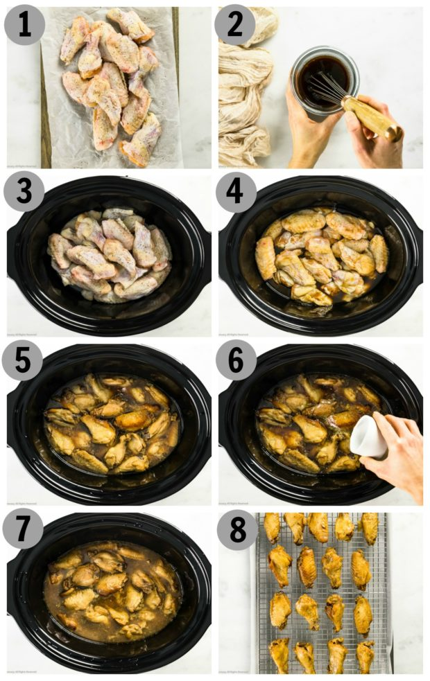 Overhead step by step photo collage of how to make chicken wings in the crockpot.