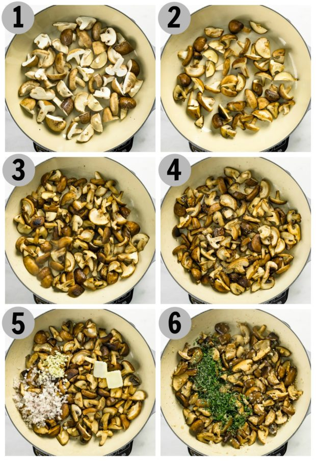 Overhead photo collage of step by step how to make sauteed mushrooms.