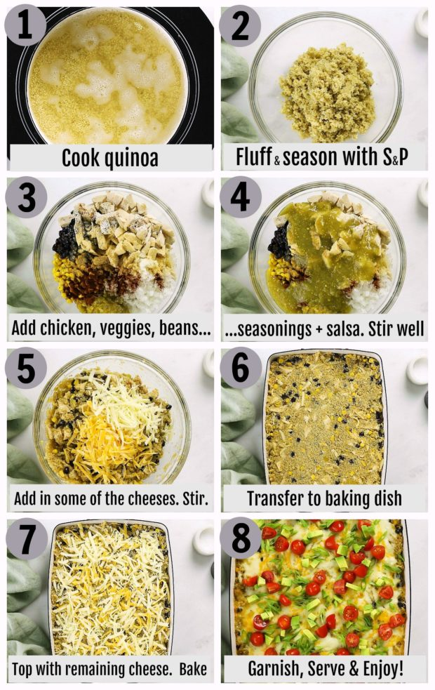 Overhead photo collage of how to make Healthy Mexican Chicken Casserole step by step with written instructions on each step.