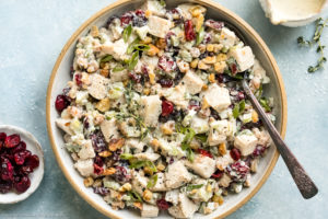 Overhead photo of Cranberry Chicken Salad garnished with sliced scallions and fresh thyme in a serving bowl with a spoon inserted into the salad and a ramekin of dried cranberries and a jar of dressing next to the bowl.