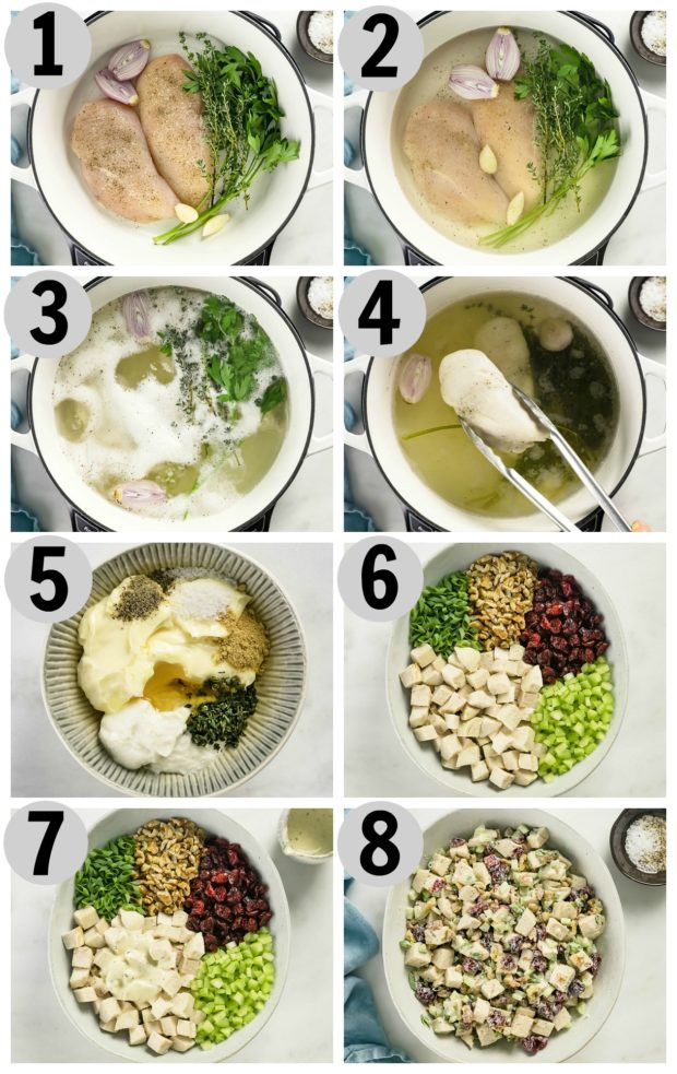 Overhead photo collage of how to make cranberry chicken salad step by step.