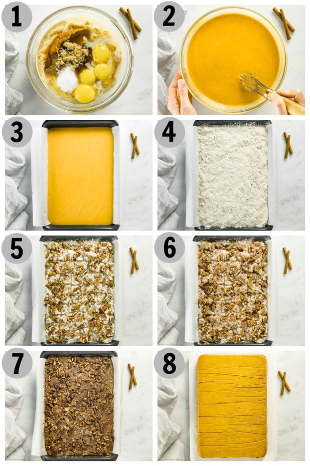 Overhead photo collage of how to make pumpkin cake step by step.