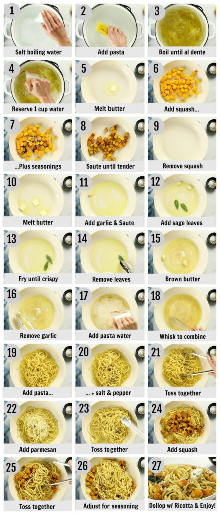 Overhead photo collage of how to make butternut squash spaghetti pasta step by step with written instructions on each step.