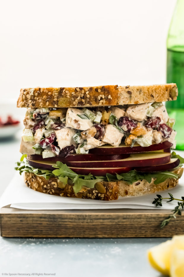 Straight on photo of a creamy cranberry chicken salad sandwich on a wood board with a green glass jar of water and ramekin of dried cranberries blurred behind the sandwich.