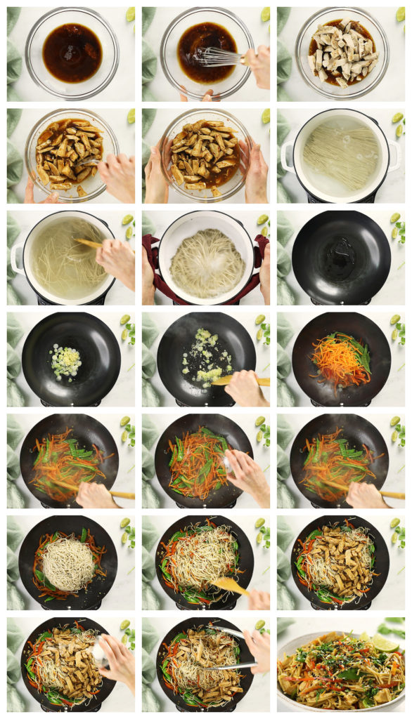 Overhead photo collage of how to make Chinese Chicken Stir-fry step by step with written instructions on each step.