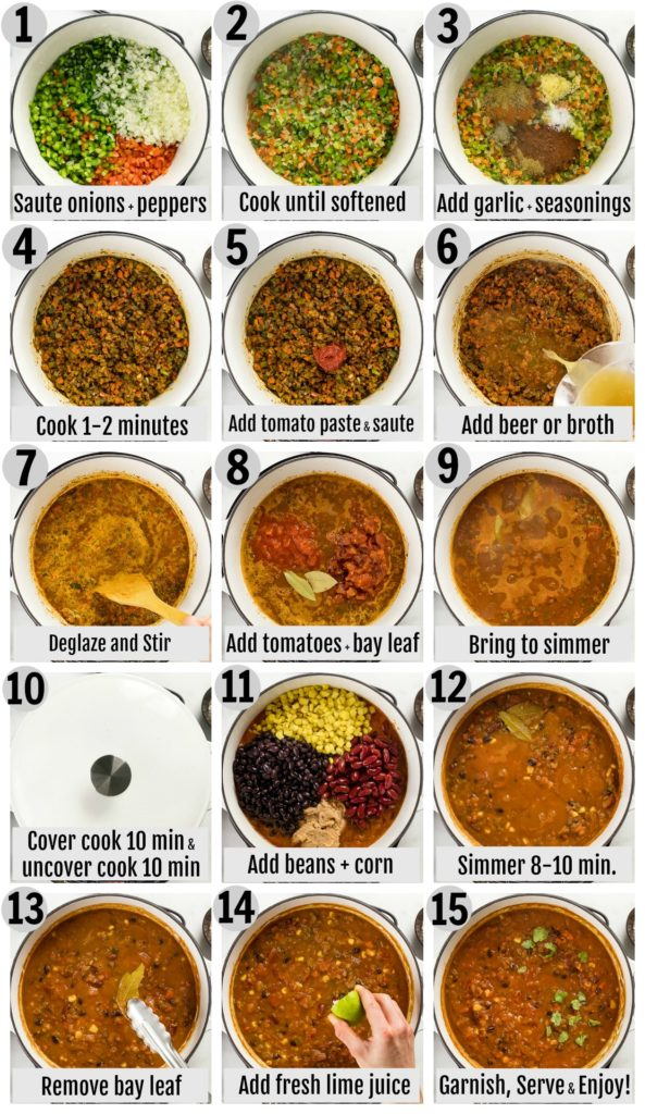 Overhead photo collage of how to make vegetarian 3 bean chili step by step with written directions on each photo.