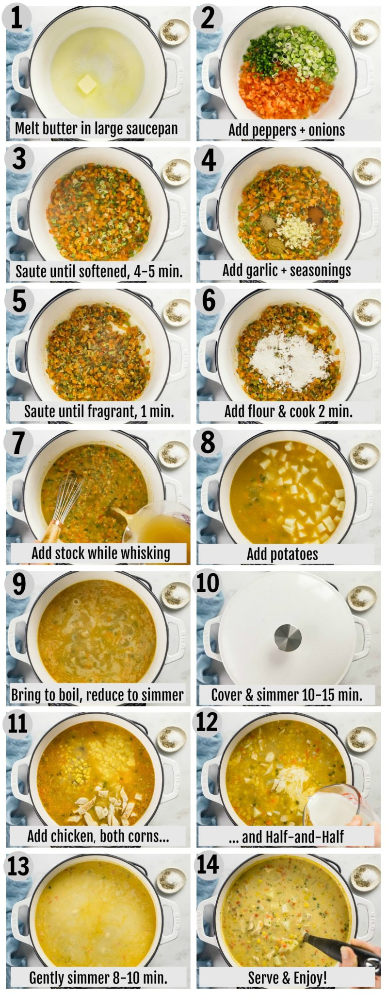 Overhead photo collage of how to make chicken corn chowder step by step with written instructions on each step.