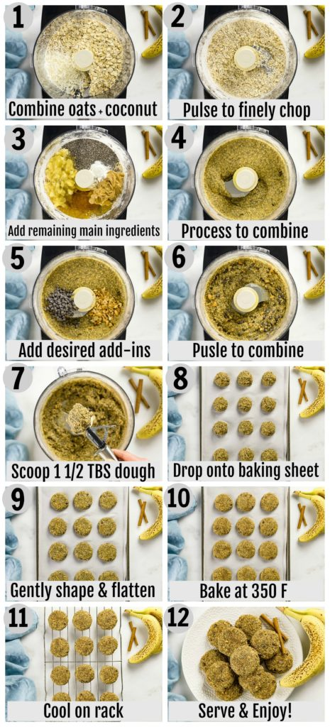 Overhead photo collage of how to make breakfast cookie recipe step by step with written instructions on each step.