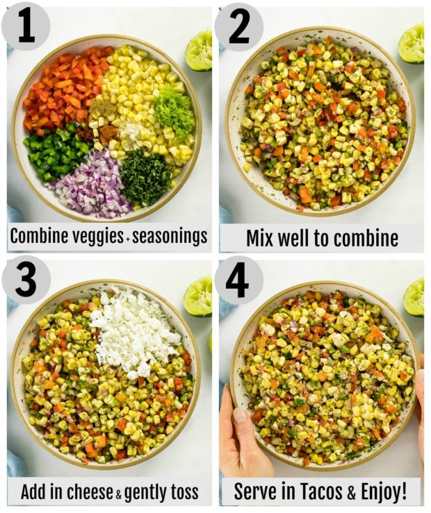 Overhead photo collage of how to make corn salsa for tacos step by step with written instructions on each step.