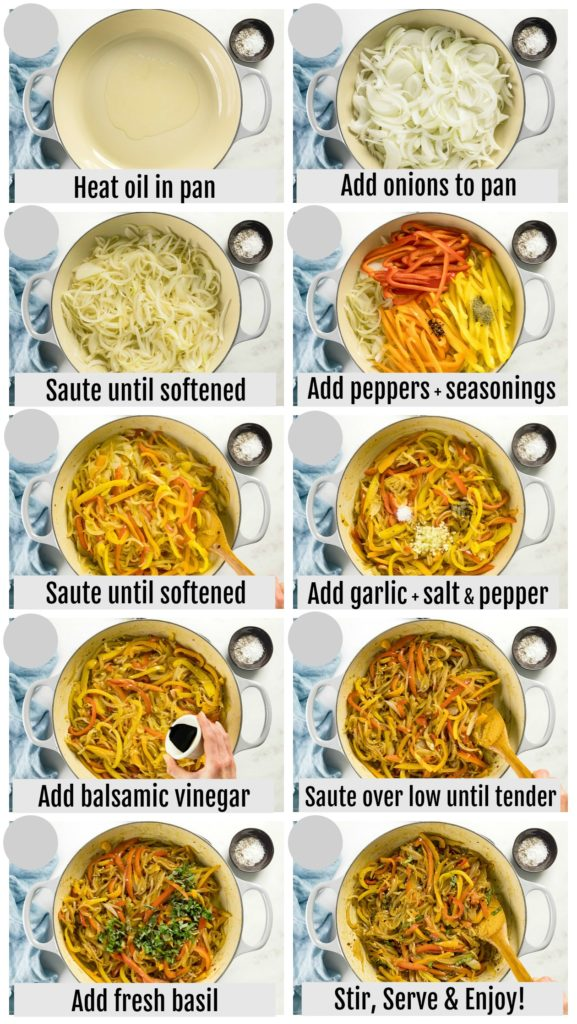Overhead photo collage of how to make sauteed peppers and onions step by step with written instructions on each step.