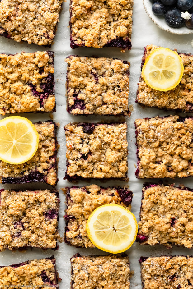 Overhead photo of Blueberry Bars with streusel cut into squares, sprinkled with powdered sugar and garnished with a couple slices of fresh lemon on a piece of white parchment paper.